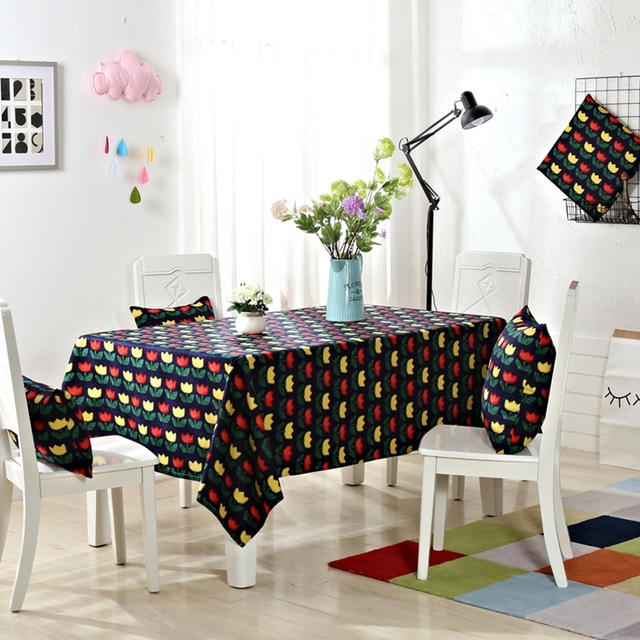 Yellow And Red Flowers Patterns Tablecloth 100% Cotton Rectangle Tablecloths  Design For Dining Room For