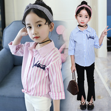 New Arrival Spring Fall Girls Blouse 2018 Children Cotton Pink Blue Striped Shirt Teenage Girls Tops And Blouses Kids Clothing new arrival simple style children s long sleeved shirt spring fall girl collar striped shirt girl blouse 5 10y