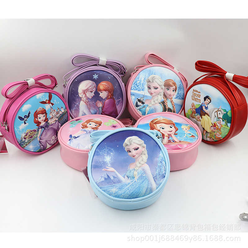 Disney princess Cartoon children Mini pu bag shoulder lady fashion Elsa bag shoulder Frozen children bag messenger