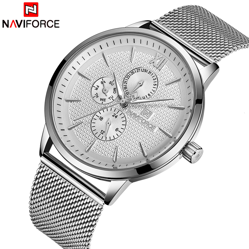NAVIFORCE Top Brand Luxury Men Watch Business Quartz Watches Mens Stainless Steel Mesh Clock Male Date Sports WristwatchNAVIFORCE Top Brand Luxury Men Watch Business Quartz Watches Mens Stainless Steel Mesh Clock Male Date Sports Wristwatch