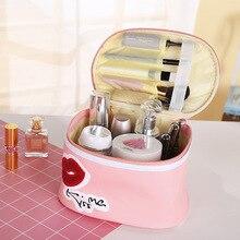 Cosmetic bag new pink girl PU storage cosmetic bag Lip pattern travel portable large capacity storage bag female цена 2017