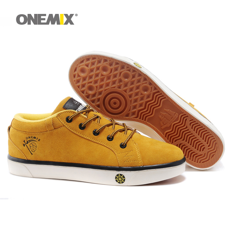 Onemix Man Skateboarding Shoes Men Cow Leather Suede Classic