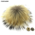 15cm 100% Real Raccoon Fur Pom Pom Keychain Fluffy Fur Balls Genuine Fur Pompons for Bag Hats Cap Scarf Gloves with Buttons