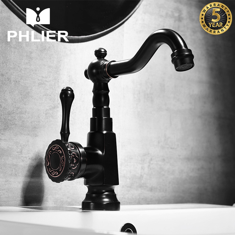 PHLIER Bathroom Faucet Luxury Single Hole Bath Faucet Black Antique Brass Hot and Cold Faucet for the Sink Water Mixer Tap Crane