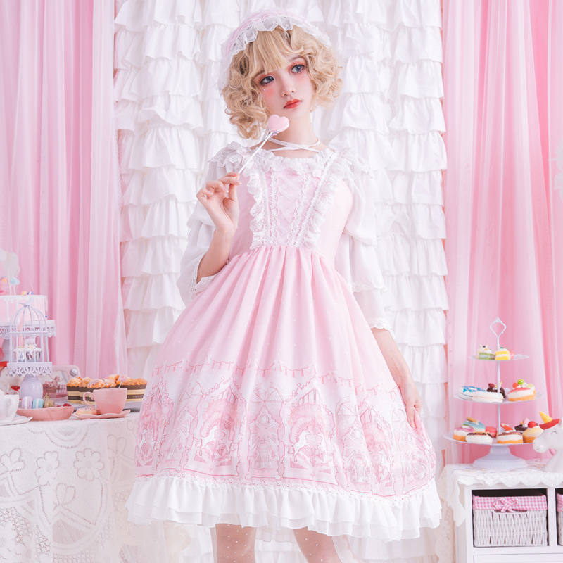 The Fairy Land Sweet Pink Lolita Dress Sleeveless Princess Printed Party Dress