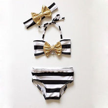 Kids Baby Girl Swimwear Bikini set Striped Bowknot 3pcs Set Swimsuit Swimming Holiday Accessories