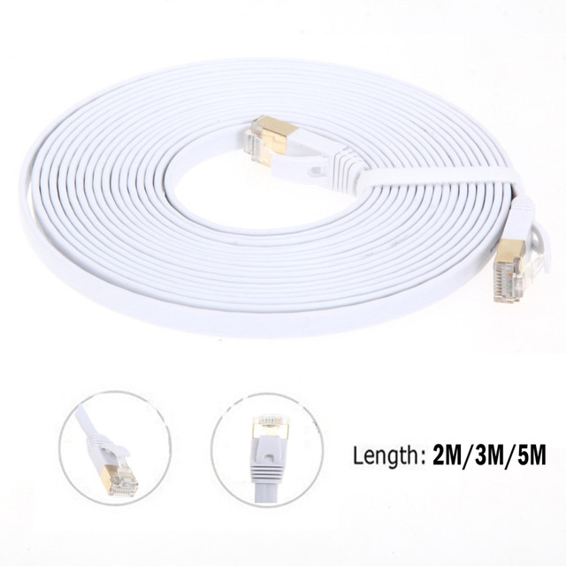 High Speed Ethernet Cable CAT7 RG45 10Gbps 600Mhz Flat Ethernet Cable Modem LAN Network Internet Router Computer Cables 2M/3M/5M