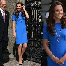 3cb7e3836b5 2016 новое знаменитое платье принцессы Кейт Миддлтон голубое короткое платье  Женская рабочая одежда офисное платье большой