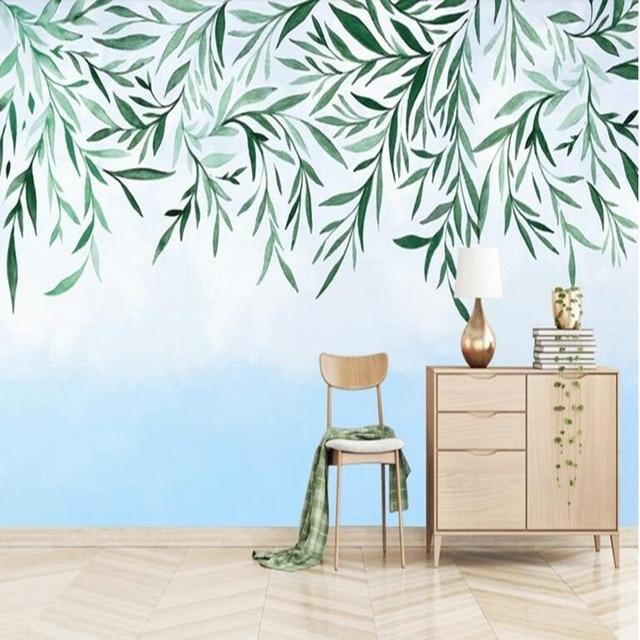 Papier peint chambres moderne minimaliste à la main abstraite petite plante  fraîche papier peintures murales nouvelle Photo étude