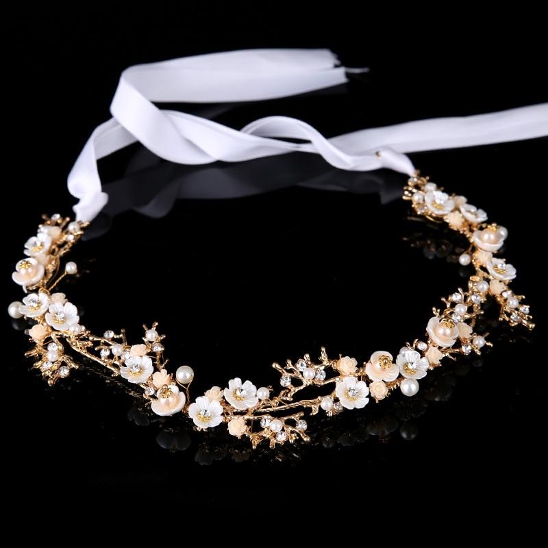 Handmade Beauty Hair Jewelry Rhinestone Wedding Hair Accessories Bridal Pearl Headbands Gold Color Bride Flower Headpiece