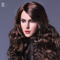 1:6 Scale European Female Head Sculpt Brown Curly Long Hair for 12 Inches Action Figures Bodies Collections Figure Accessori