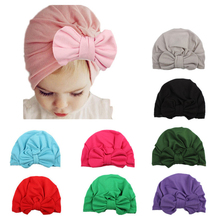 Fashion Bowknot Baby Hat Soft Cotton Kids Girl Cap Turban Baby Beanie Hat Newborn Toddler Photo Props Accessories цена 2017