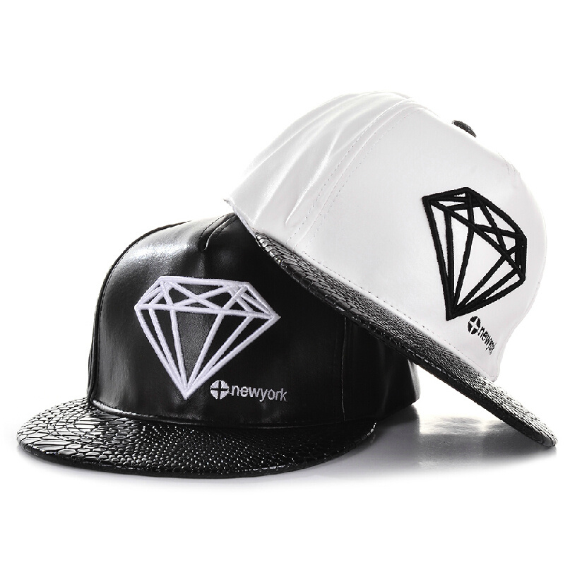 1b791650bf229 Fashion Diamond New York Style PU Leather Gorras Planas Hiphop Baseball Cap  Hat -in Baseball Caps from Apparel Accessories on Aliexpress.com