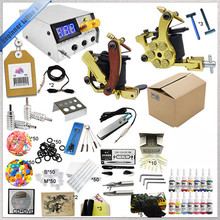 2016 Body art beginner tattoo kit makeup set 2 gun tattoo machine Cheap tattoo ink kits with needls and tips