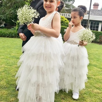 Ballgown Scoop Ankle-Length White Tiered Flower Girl Dress 2019 with Lace Beading Sleeveless 1st Communion Dress for Little Girl