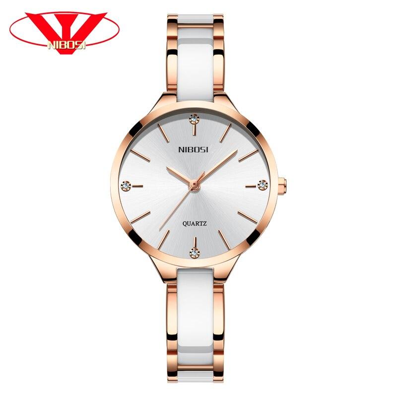 NIBOSI Relogio Feminino Women Watches Top Brand Luxury Ceramic Band Watch Men Waterproof Clock Montre Femme Quartz Reloj Mujer