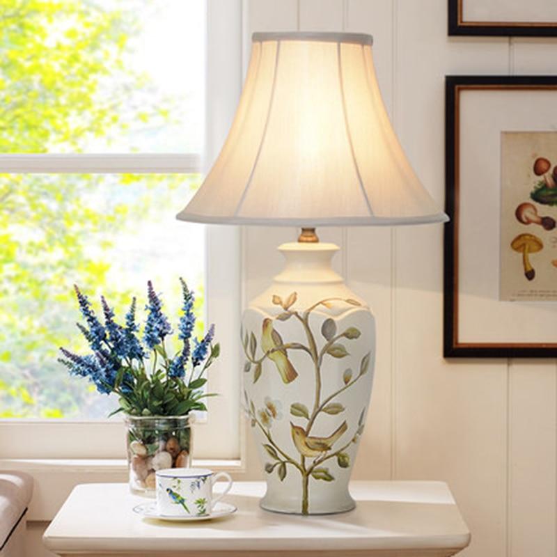Art Deco FÜhrte Keramik Tisch Lampen Neue Chinesischen Stil Dekorative Beleuchtung Luxus Wohnzimmer Schlafzimmer Studie Keramik Led Tisch Lichter