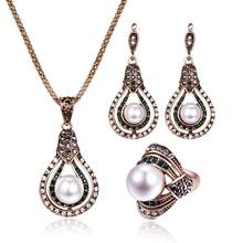 Винтажная Капля воды Ювелирные наборы Большой Жемчуг Полный Кристалл полые кулон ожерелье серьги кольцо ювелирные изделия для женщин обручение подарок