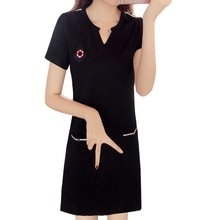 Women Printed Dress beach dress V Neck Short Sleeve Dresses Fashion Casual Straight Midi