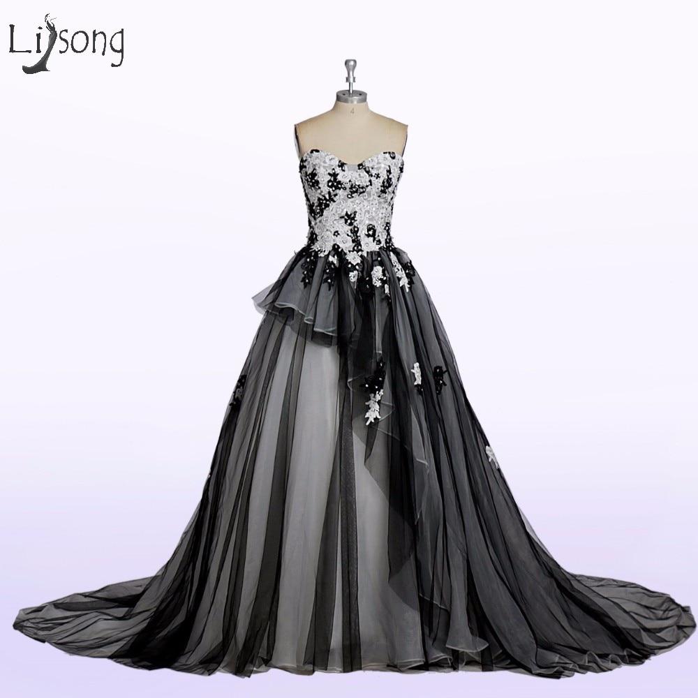 Discount Black And White Gothic Wedding Dresses Real: Gothic Black And White Wedding Dresses 2017 Dubai Lush