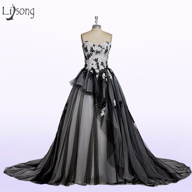 f4e5afe7880 Gothic Black And White Wedding Dresses 2017 Dubai Lush Tulle Bridal Gowns  Appliques Lace Crystal vestido De Noiva Lace Up A023