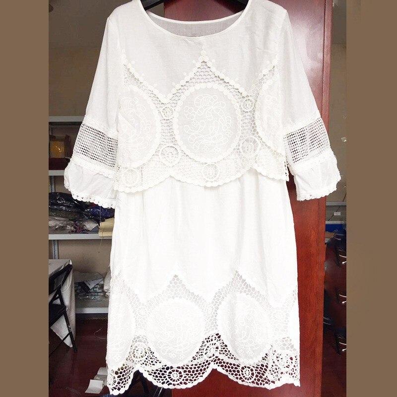 New Sexy Fashion Women Summer Dress Plus Size 3XL 4XL 5XL 6XLLarge Slim White Lace Hallow Out O-Neck Loose Dress Vestidos