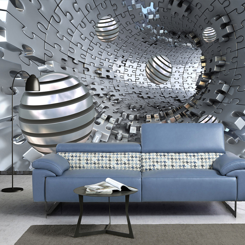 Custom 3D Wallpaper Modern Creative Abstract Tunnel Space Imitation Metal Ball Photo Wall Murals Living Room TV Sofa Wall Cloth