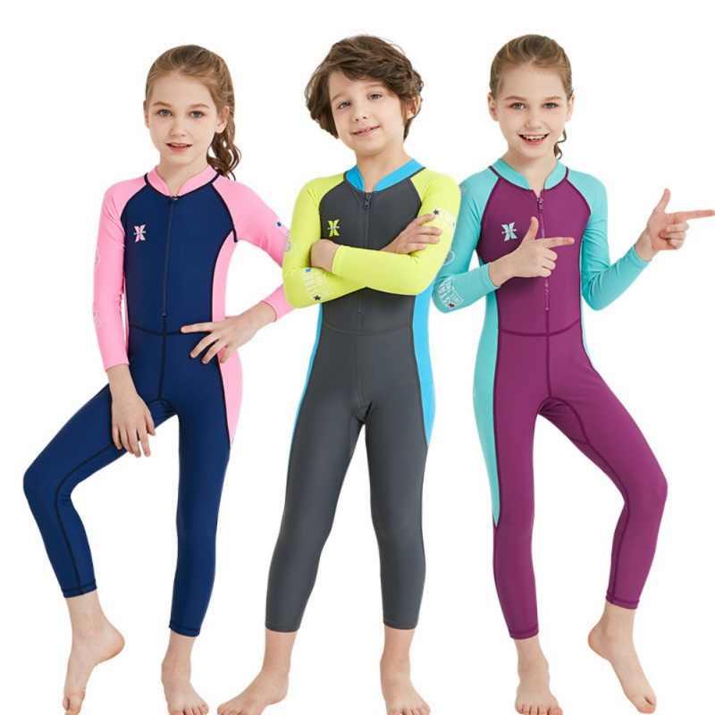 Çocuk kız erkek dalgıç kıyafeti neopren Wetsuit çocuk sıcak tutmak için tek parça uzun kollu UV koruma mayo