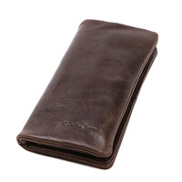 2016 Vintage Business Men Genuine Leather Cowhide Bag Long Wallet Card Money Holder Clutch Purse Designer