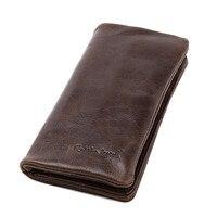 2019 Vintage Business Men Genuine Leather Cowhide Bag Long Wallet Card Money Holder Clutch Purse Designer Wallets Phone Pocket