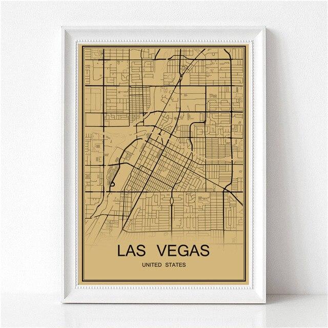 Retro painting LAS VEGAS Vintage poster World map Krafts paper art ...