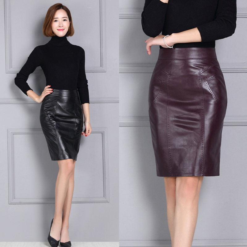 Women slim hip leather skirt medium-long genuine leather skirt