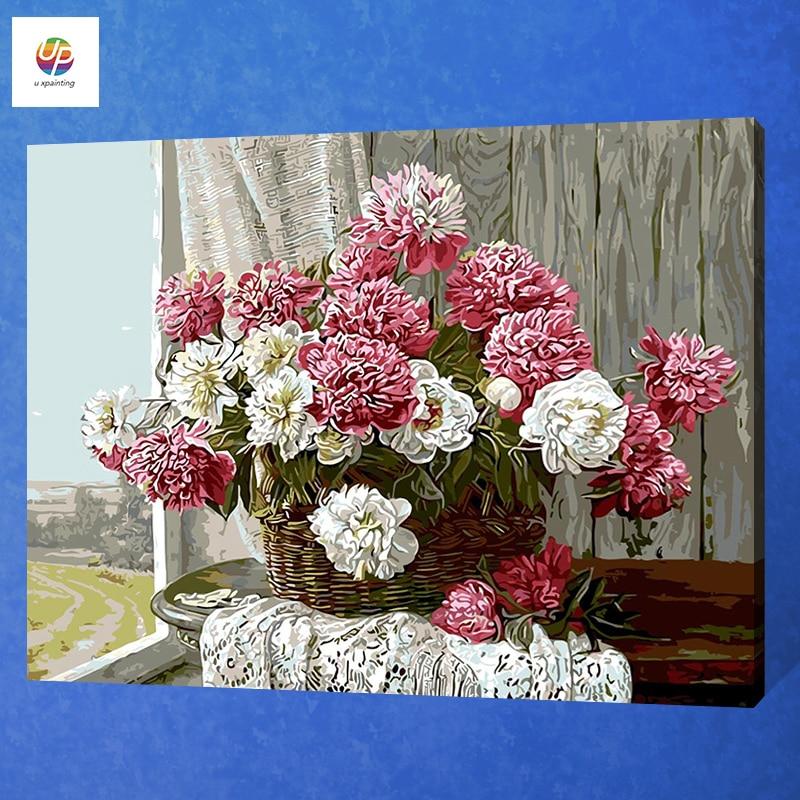 Frameless Canvas Art Oil Painting Flower Painting Design: Frameless Digital Painting By Number Colorful Flower Vase