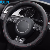 High Quality Cowhide Genuine Leather Hand Stitched Car Steering Wheel Cover Anti Slip And Breathable Fit
