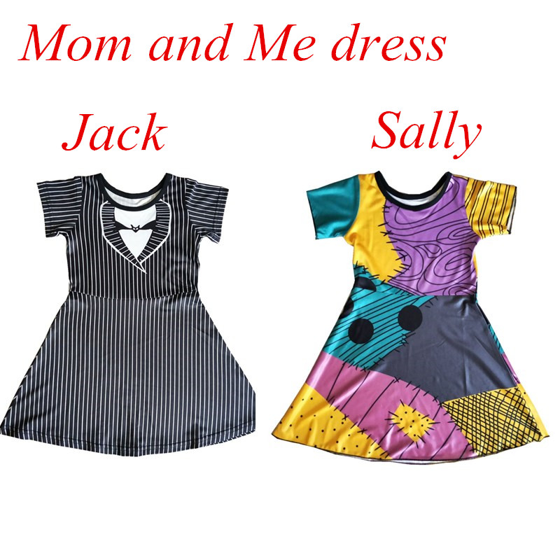 Halloween Mum and Me Dress Christmas Family Matching Princess Cosply Jack And Sally Dress Up Christmas Party Summer Dress(China)