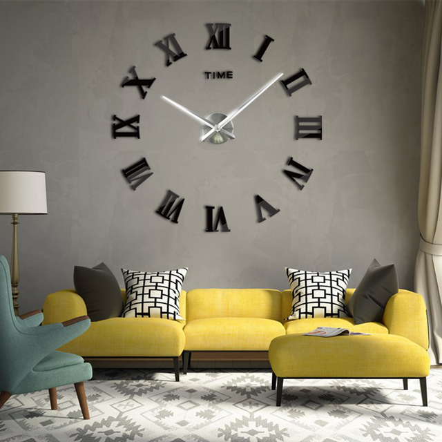 New 2018 3d Wall Clock Interesting Diy Home Decor Clocks Roman ...