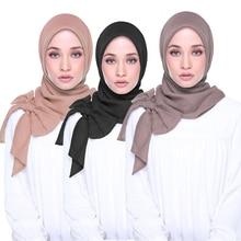 10 Pcs Soft Chiffon Bow Muslim Women Hijab Scarf Fashion Plain Hijabs Ready To Wear Shawls and Wraps Headscarf Islam foulard