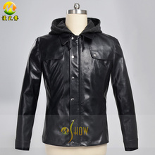 Movie Terminator Genisys T-800 Cosplay Costume for Adult Men Hoodie Leather Jacket Outwear Motor Coat Free Shipping