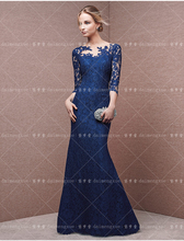 2016 sexy blue lace appliques mermaid Evening Dress three quarter sleeve Floor Length Formal Party gowns long prom dresses владимир дэс тараканы