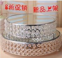 diameter 25/31cm round metal cake stand crystal tray cake decorating tool mirror tray for wedding decoration FT034