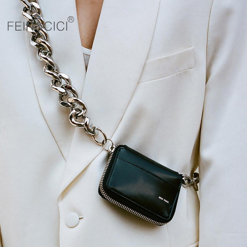 Small big metal chains bag black mini messenger bag women ins chic fashion crossbody BIKE WALLET for coin Lipstick drop shipping