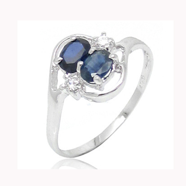Double gemstones silver ring 4*6mm natural sapphire gemstone ring solid 925 sterling silver sapphire ring for woman birthday