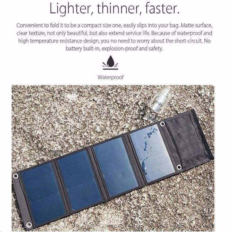 22W Portable Solar Charger For iPhone Sunpower Solar Panel Charger Foldable Universal Camping Outdoor Dual USB New Free Shipping