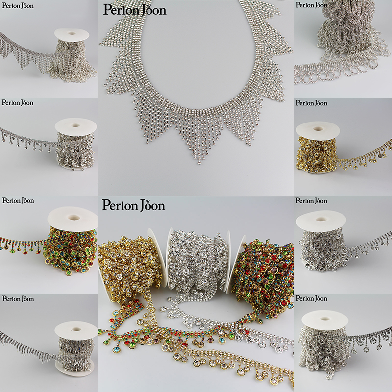 5yards Crystal tassel Trimming Motif Rhinestone trim Chain for Wedding Dress Decoration Appliques sew on Clothing