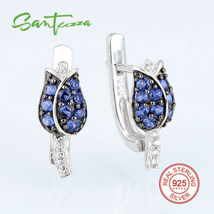 Image 3 - SANTUZZA Silver Jewelry Set For Woman Unique Delicate Blue Tulip Flower CZ Ring Earrings Set 925 Sterling Silver Fashion Jewelry