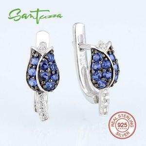 Image 3 - SANTUZZA gümüş takı seti kadın için benzersiz narin mavi lale çiçek CZ yüzük küpe seti 925 ayar gümüş moda takı