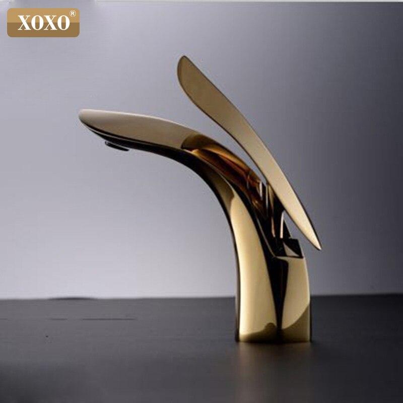 XOXO смеситель для раковины для ванной комнаты кран для раковины с одной ручкой золотой кран для раковины Смеситель для горячей и холодной во...