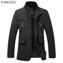 Stand Collar Duffle Coat Men 2018 Winter New British Style Cashmere Co