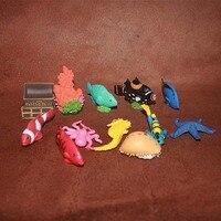 Pvc figure océan animaux poissons tropicaux submersible poitrine corail décoration jouet cadeau 12 pcs/set