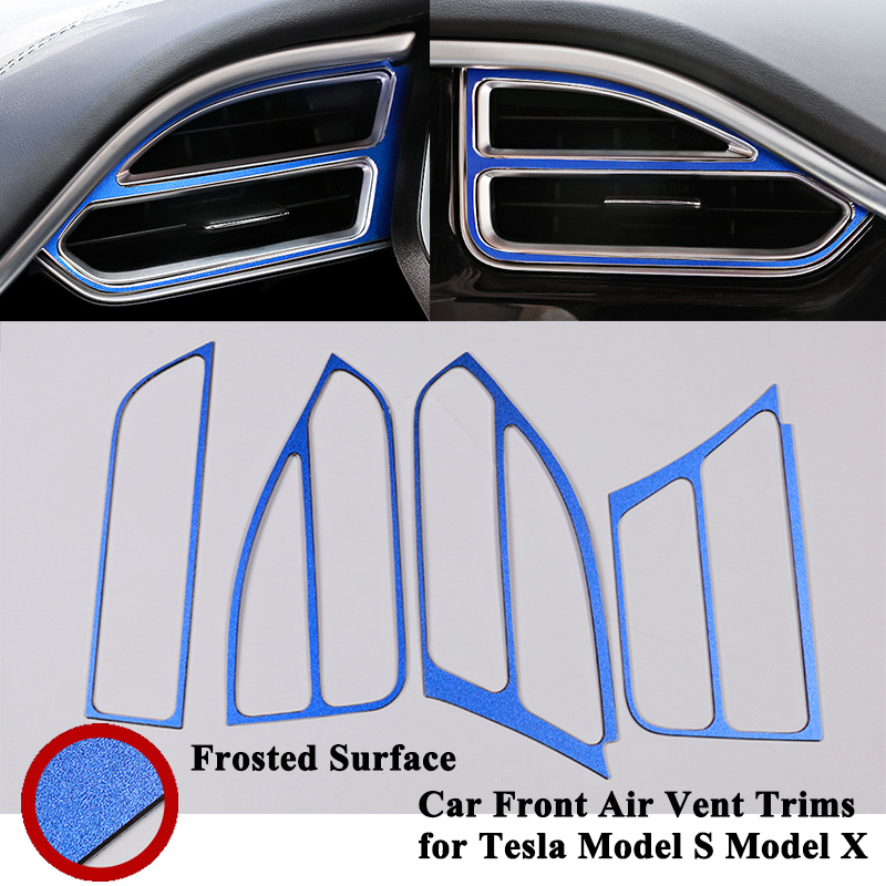 4pcs/set Car Front Air Vent Trim Decoration Outlet Frame Cover Sticker Styling Refit Accessories for Tesla Model S X